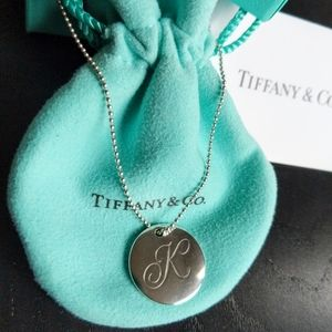 "Tiffany Letter ""K"" Disc Charm Necklace"